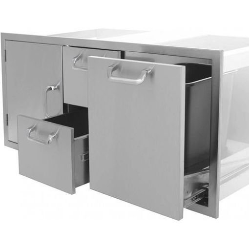 """Picture of PCM-260 42"""" Single Door / 2 Drawers / Trash Rollout (Triple Combo)"""