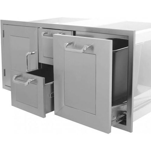 "Picture of PCM-260R 42"" Single Door/ 2 Drawers/ Trash Rollout (Triple Combo)"