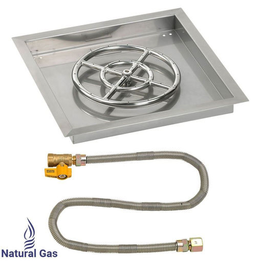 """Picture of 18"""" Square Drop-In Pan with Match Light Kit (12"""" Fire Pit Ring) - Natural Gas"""