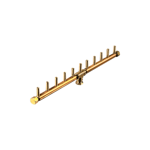 "Picture of CFBL110 Linear CROSSFIRE™ Brass Burner + 6"" x 26"" Plate + 1/2"" Flex Line Kit"
