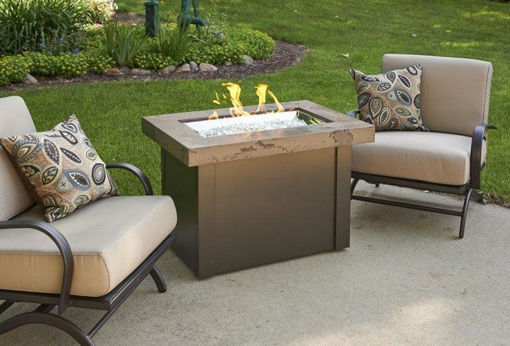 Picture of Brown Providence Rectangular Gas Fire Pit Table by The Outdoor Greatroom Company