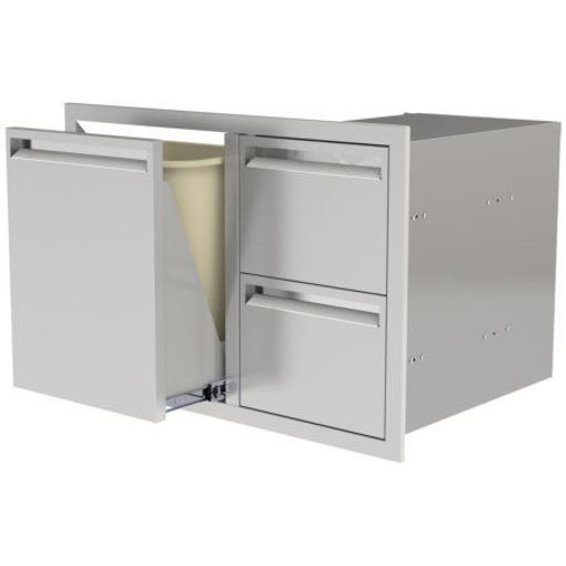 "Picture of PCM‐350 36"" TRASH/PROPANE ROLLOUT/ 2 DRAWERS"