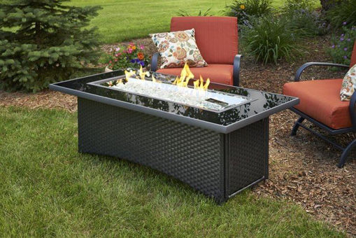 Picture of Black Montego Linear Gas Fire Pit Table by The Outdoor Greatroom Company
