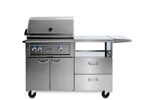 "Picture of 30"" PROFESSIONAL MOBILE KITCHEN GRILL WITH ALL TRIDENT INFRARED BURNERS AND ROTISSERIE (L30ATR-M)"