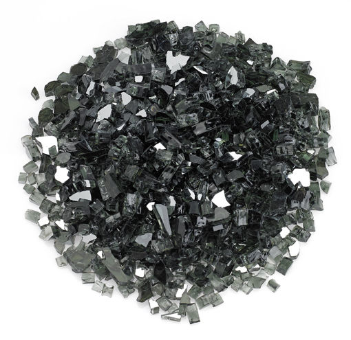 "Picture of 1/4"" Black Reflective Fire Glass"