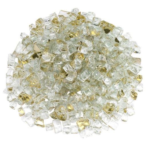 """Picture of 1/2"""" Gold Reflective Fire Glass"""